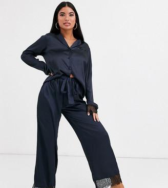 Asos DESIGN Petite mix & match satin & lace pyjama trouser-Blue