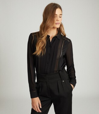 Reiss Arin - Semi-sheer Panel Shirt in Black
