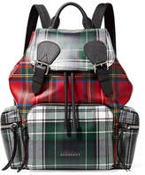 Burberry Leather-trimmed Tartan Coated-canvas Backpack - Green