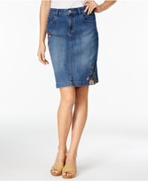 Style&Co. Style & Co Embroidered Denim Skirt, Only at Macy's