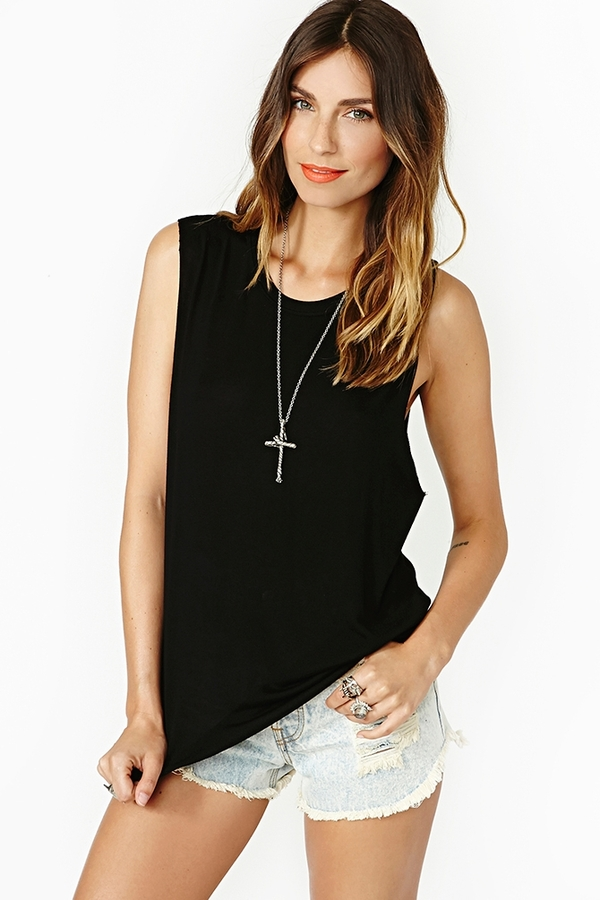 Nasty Gal Mila Muscle Tee - Black