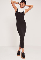Missguided Strappy Long Midi Jersey Dress Black