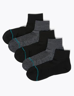 Marks and Spencer 5 Pack Freshfeet Cushioned Quarter Socks