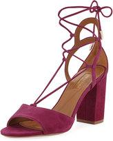 Aquazzura Austin Suede Lace-Up Sandal, Fuchsia