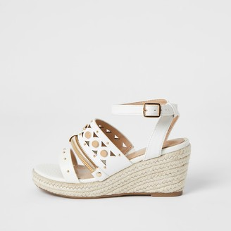 River Island Girls White studded strappy wedge sandals