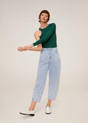 MANGO Asymmetric cable knit t-shirt green - S - Women