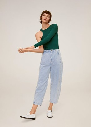 MANGO Asymmetric cable knit t-shirt green - XS - Women