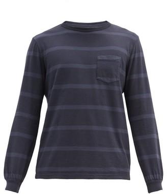 Albam Whelen Long-sleeved Striped Cotton T-shirt - Navy