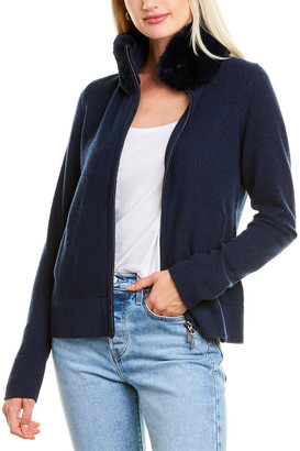 Forte Cashmere Collared Zip Cashmere Cardigan