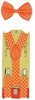 Coool Baby Toddler Kids Children Boys Girls Orange Polka Dot Bow Tie & Suspender Set