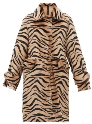 Giani Firenze Jillian Lungo Zebra-print Shearling Coat - Womens - Animal