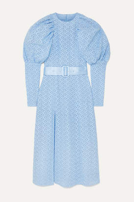 Rotate by Birger Christensen Belted Embroidered Tulle Midi Dress - Sky blue