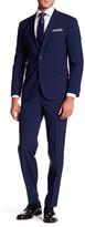 Kenneth Cole New York Cobalt Plaid Two Button Notch Lapel Slim Fit Suit