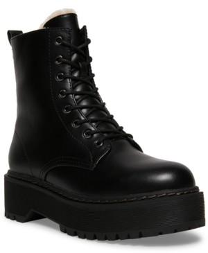 Steve Madden Women's Betty-f Faux-Fur Combat Boots