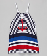 Mulberribush Navy & White Anchor Yoke Dress - Toddler & Girls