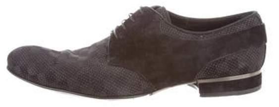 Louis Vuitton Suede-Trimmed Damier Derby Shoes black Suede-Trimmed Damier Derby Shoes