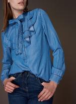 Tu clothing Light Denim Premium Ruffle Tencel Shirt