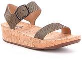 FitFlop Bon Lizard Print Suede Banded Cork Sandals