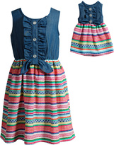 Dollie & Me Blue & Red Stripe-Contrast Sleeveless Dress - Girls
