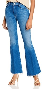 Mother The Weekender Fray Flare Jeans in Double Vision