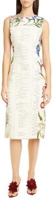 Oscar de la Renta Floral Sleeveless Wool Midi Dress