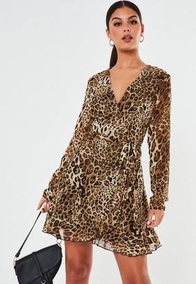 Missguided Stone Leopard Ruffle Hem Wrap Tea Dress