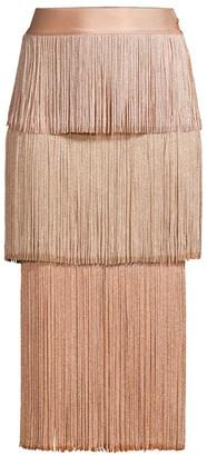 Herve Leger Tiered Fringe Midi Skirt