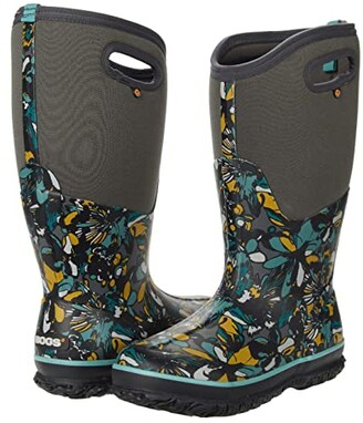 Bogs Classic Tall Wide Calf Wild Flower (Dark Gray Multi) Women's Boots