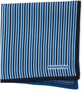 Ermenegildo Zegna Reversible 3D Box Silk Pocket Square, Blue