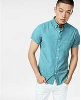 Express garment dyed button collar short sleeve shirt
