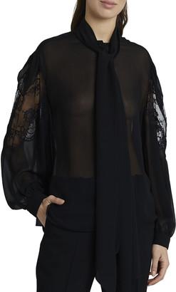 Givenchy Silk Scarf Neck Blouse