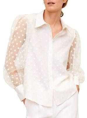 MANGO Polka-Dot Organza Shirt