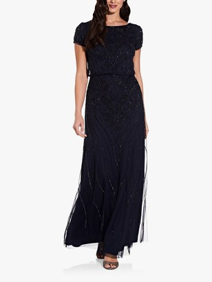 Adrianna Papell Beaded Short Sleeve Maxi Dress, Midnight Blue/Black
