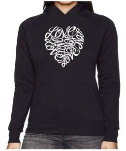 LA Pop Art Women's Word Art Hooded Sweatshirt -Love
