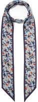 Chloé Floral-print Silk-twill Scarf - Blue