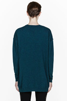 Stella McCartney Teal Kestrel embroidered Intarsia sweater