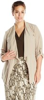 Jones New York Women's Plus-Size Drape Front Safari Jacket