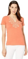 Lucky Brand Short Sleeve Embroidered V-Neck Tee (Persimmon) Women's Clothing