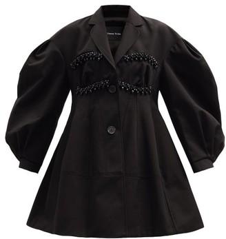 Simone Rocha Beaded Balloon-sleeve Cotton-drill Evening Coat - Black