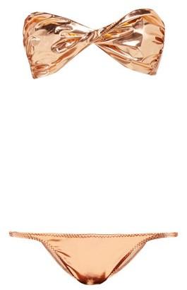 Lisa Marie Fernandez Alexia Metallic Pvc Bikini - Womens - Rose Gold