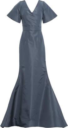 Oscar de la Renta Open-back Bow-detailed Silk-faille Gown