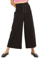 Topshop Women's Lace-Up Wide Leg Crop Pants