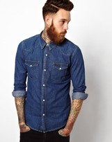 Lee Denim Western Shirt Slim Fit Mid Stone