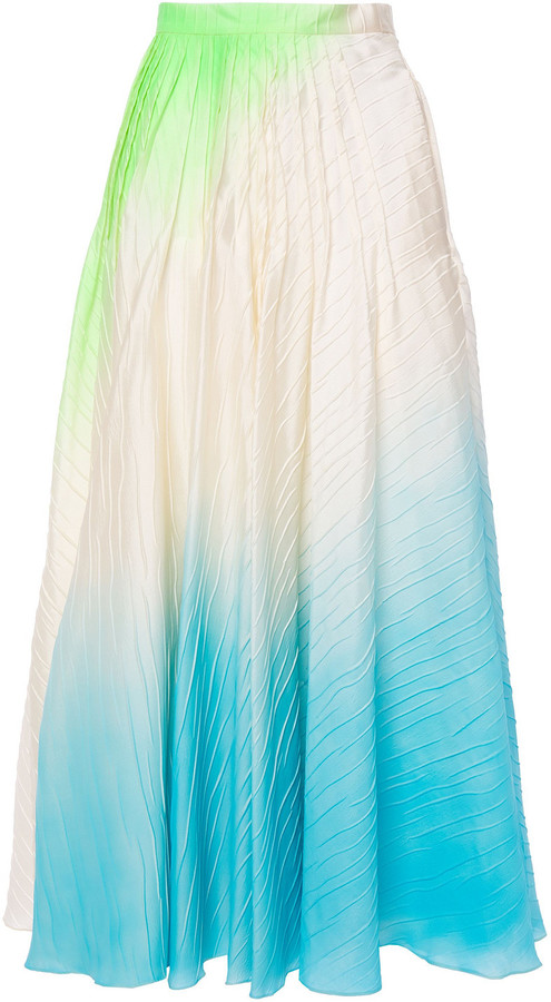 Roksanda Pleated Neon Textured-taffeta Maxi Skirt