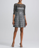 Kay Unger New York Lace-and-Sequined Cocktail Dress
