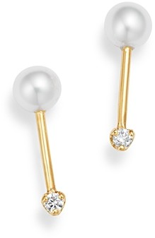 Zoë Chicco 14k Gold Cultured Freshwater Pearl & Diamond Barbell Stud Earrings