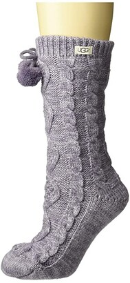 UGG Pom Pom Fleece Lined Crew Sock (Cream) Women's Crew Cut Socks Shoes