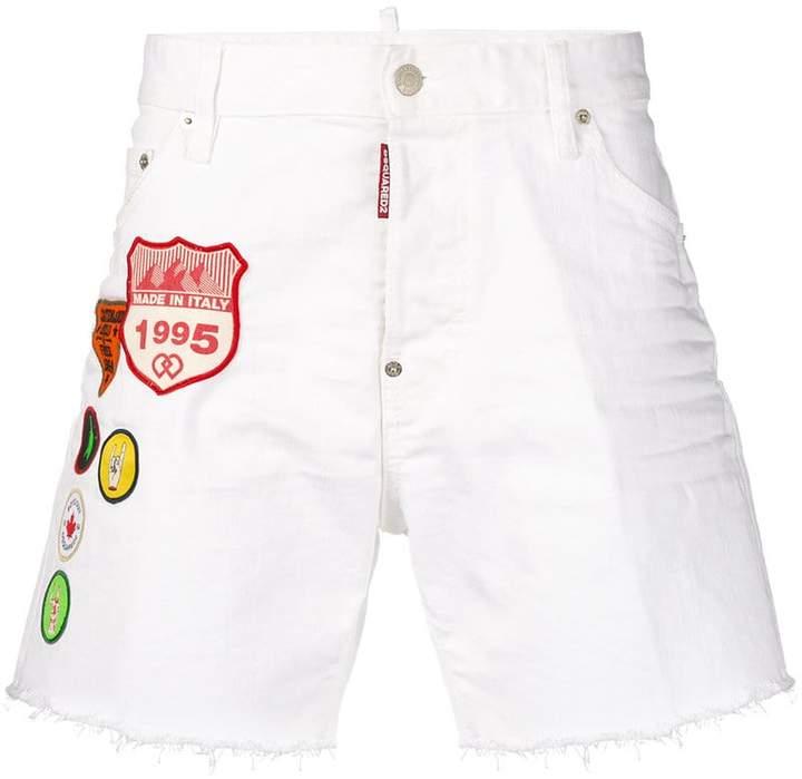 DSQUARED2 embroidered badge denim shorts
