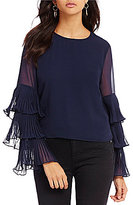 Lucy Paris Pleated Tiered Bell Sleeve Chiffon Blouse