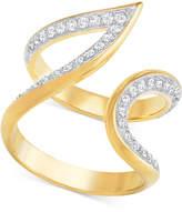Swarovski Gold-Tone Contoured Pavé Ring